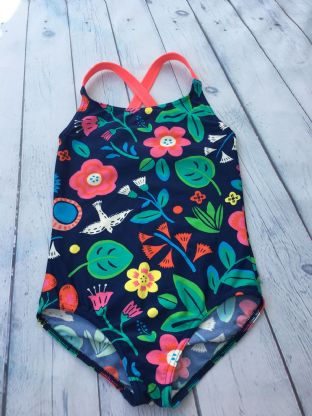 Mini Boden navy floral swimsuit with cross over straps age 7-8